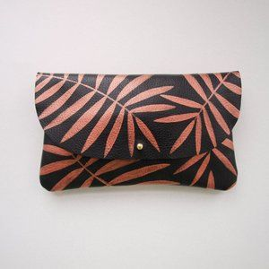 Hand Painted Copper Palm Leaf Leather Pouch/Clutch